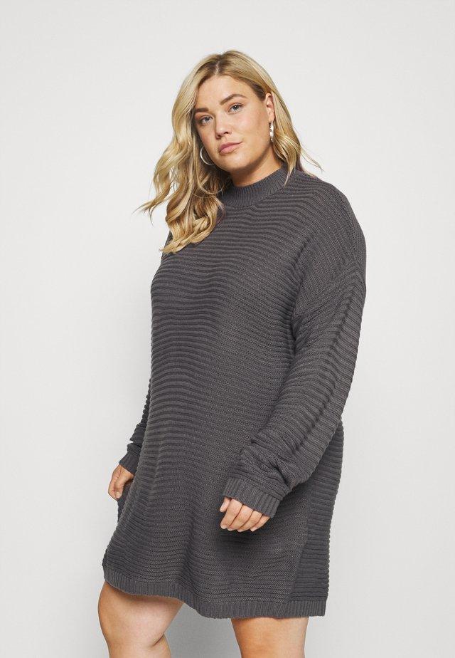 HIGH NECK DRESS - Sukienka dzianinowa - charcoal