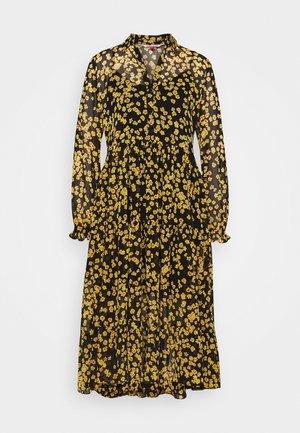 PRINTED MIDI SHIRT DRESS - Abito a camicia - black/yellow
