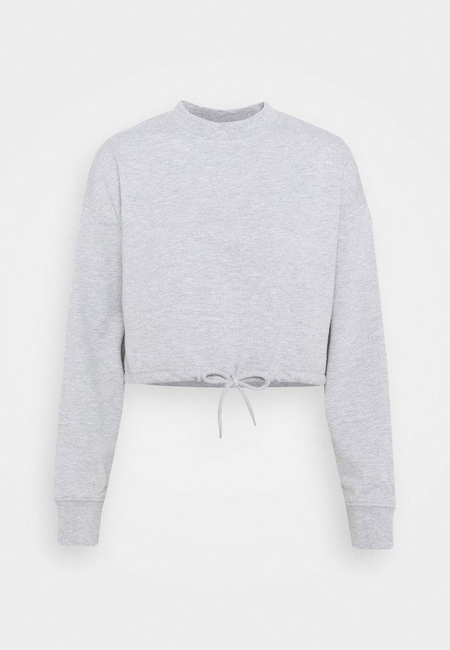 TIE HEM CROPPED SWEATSHIRT - Collegepaita - light grey