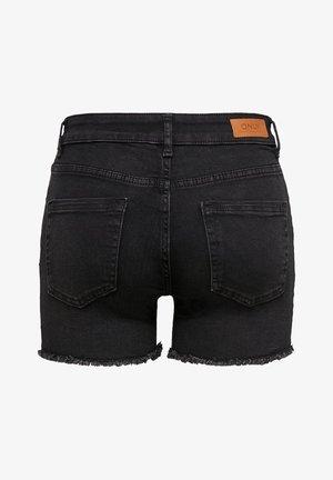 ONLBLUSH  LIFE MID RAW - Denim shorts - black denim