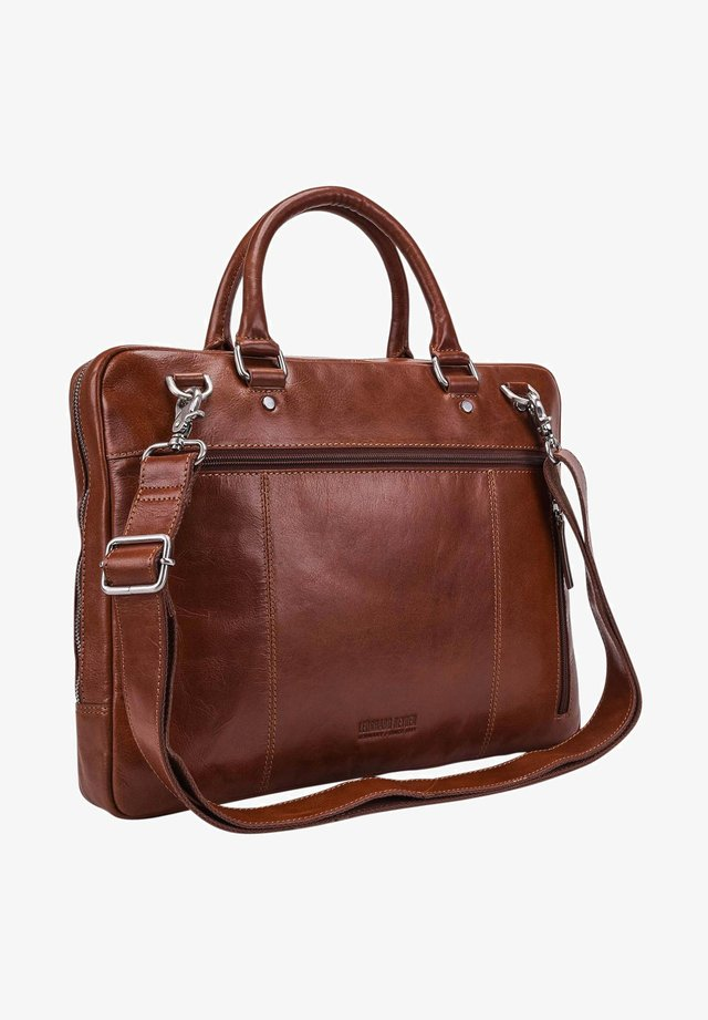 CAMBRIDGE ZIPPED - Briefcase - cognac