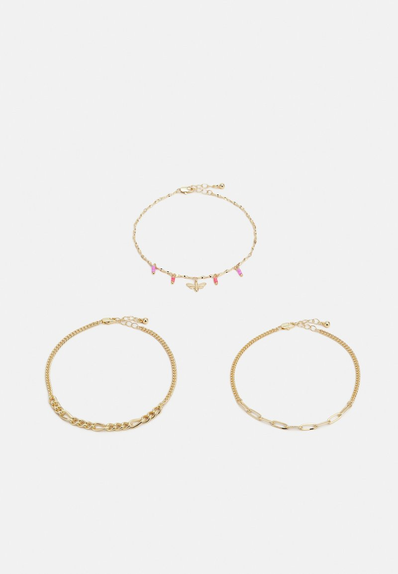 Pieces - PCELLY ANKLET 3 PACK - Riipus - gold-coloured/pink