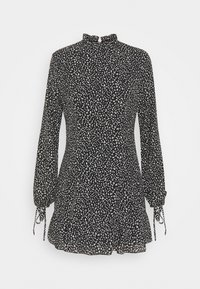Missguided Petite - HIGH NECK ALINE DRESS LEOPARD - Day dress - black - 0
