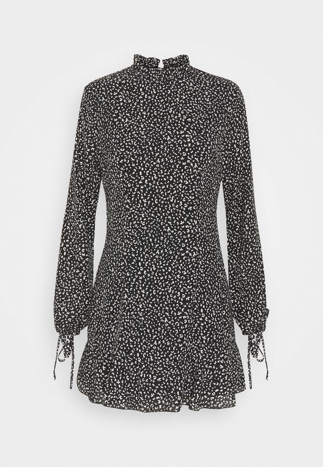 HIGH NECK ALINE DRESS LEOPARD - Day dress - black