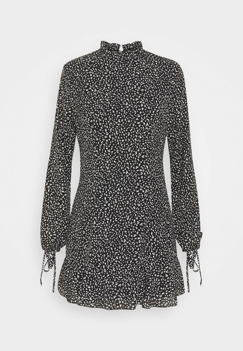 Missguided Petite - HIGH NECK ALINE DRESS LEOPARD - Day dress - black