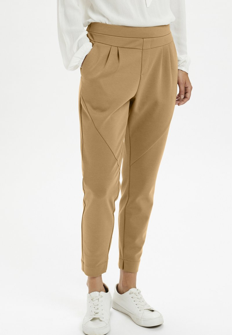Cream - ANETT PANTS - Trousers - luxury camel