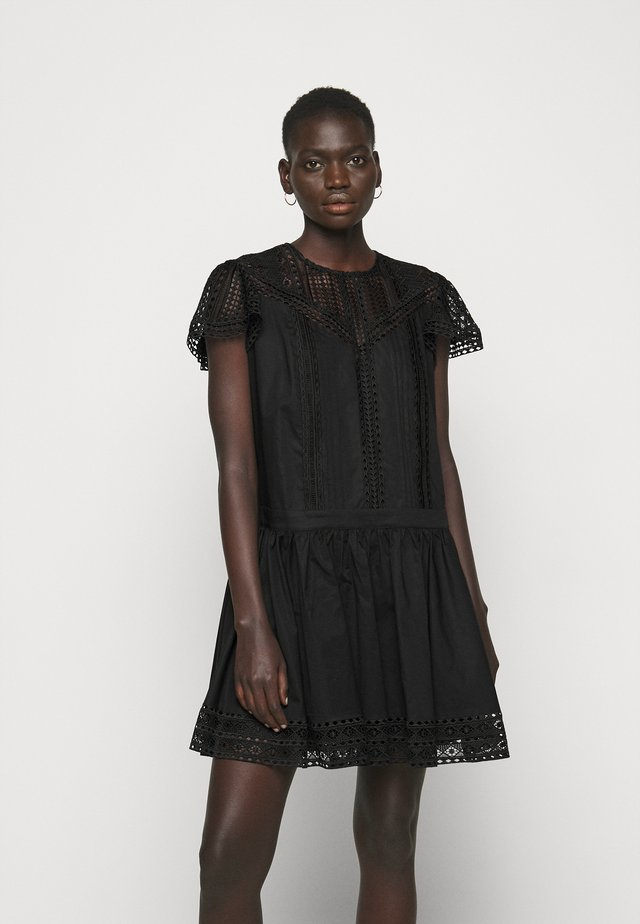 ABITO CON SOTTOVESTE  - Day dress - nero