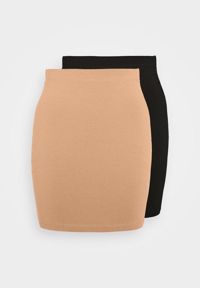 2 PACK - Mini skirt - black/camel