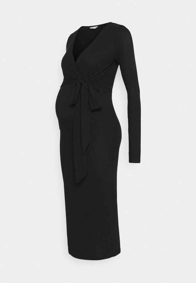 TESS MIDI DRESS - Trikoomekko - black