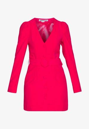WOVEN PUFF SLEEVE BELTED BLAZER DRESS - Vestido informal - pink