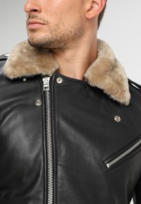 Goosecraft - GALLERY - Leather jacket - black/offwhite - 4