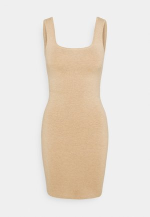 RIBBED NECK MIDI - Jumper dress - neutral brown