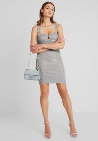 Rare London - METALLIC BODYCON MINI DRESS - Shift dress - grey - 2