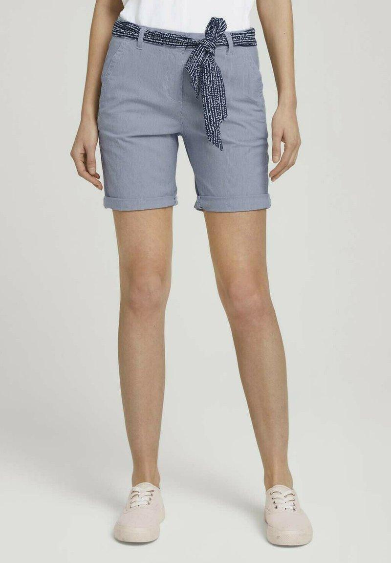 TOM TAILOR - Shorts - navy thin stripe