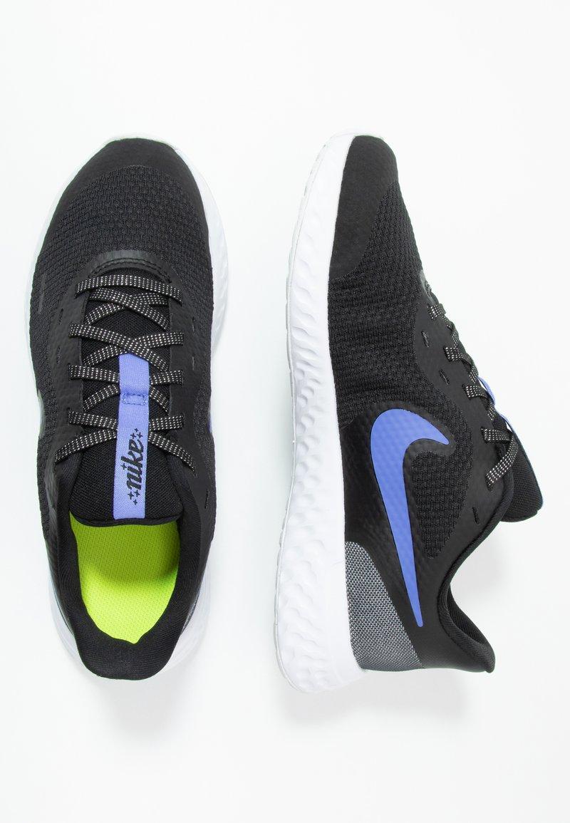 Nike Performance - REVOLUTION 5 GLITTER GG - Neutral running shoes - black/sapphire/lemon/white