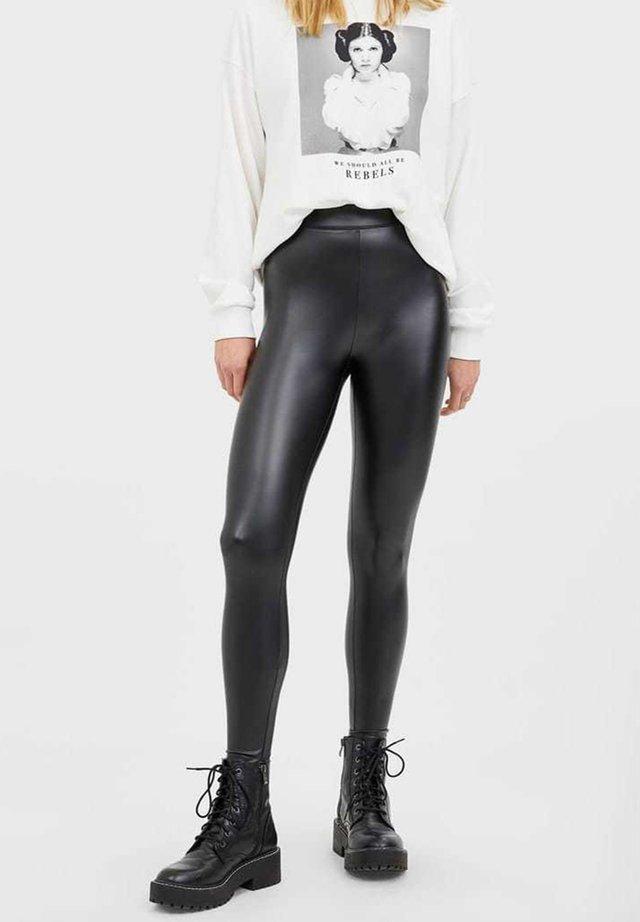 KUNSTLEDER - Legging - black