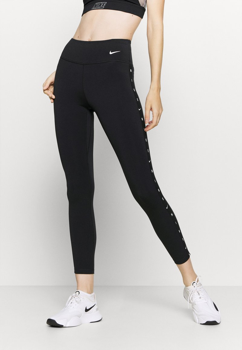 Nike Performance - ONE TAPING - Leggings - black/white