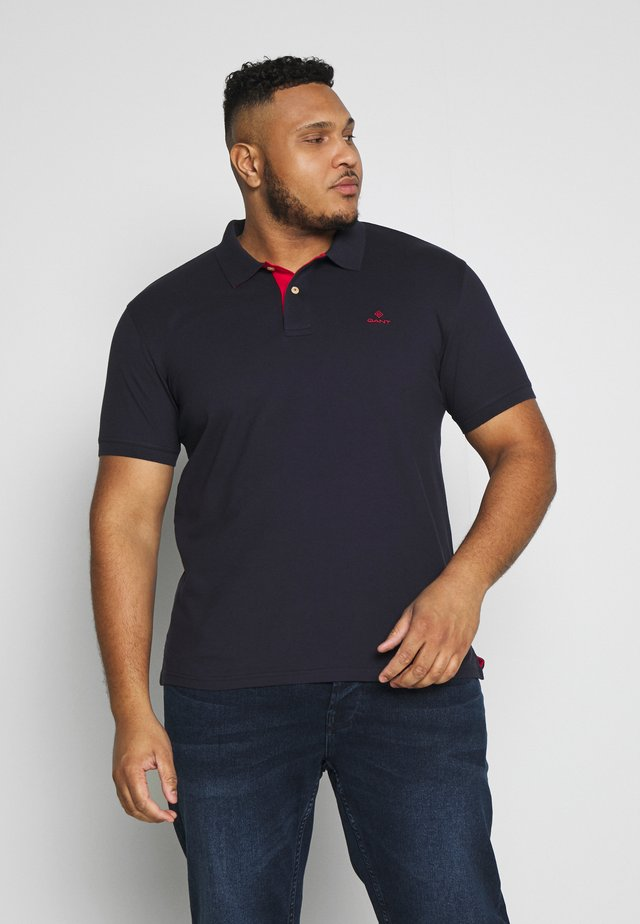 PLUS CONTRAST COLLAR RUGGER - Polo shirt - evening blue