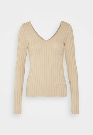 VMJOSEPHINE VNECK - Long sleeved top - beige