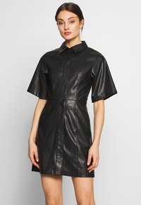 Weekday - SAVANAH DRESS - Košilové šaty - black - 0