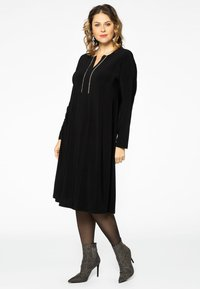 Yoek - EMBELLISHED RIBBON DETAIL - Day dress - black - 1