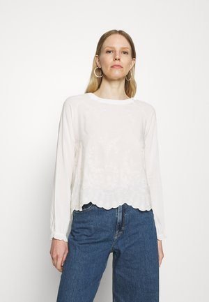 LONGSLEEVE WITH BROIDERIE ANGLAISE - Pusero - pearl white
