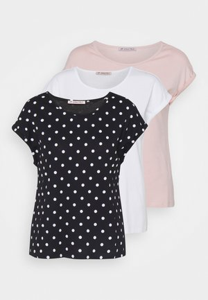 3 PACK - T-shirt print - light pink/black/white