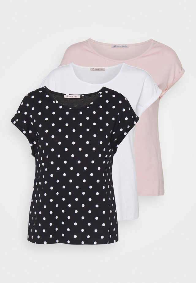 3 PACK - T-shirt con stampa - light pink/black/white