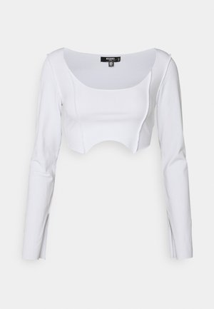 RAW EDGE EXPOSED SEAM LONG SLEEVE  - Long sleeved top - white
