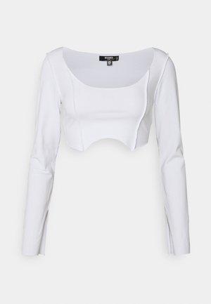 RAW EDGE EXPOSED SEAM LONG SLEEVE  - Top sdlouhým rukávem - white