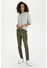 Kaffe - Print T-shirt - chalk/ grape leaf stripes - 1