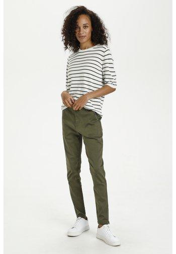 Print T-shirt - chalk/ grape leaf stripes