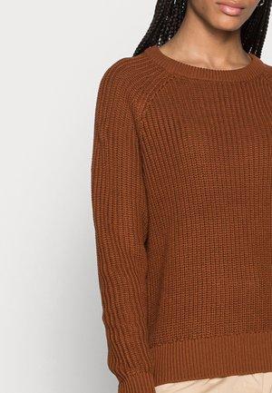 HALF CARDIGAN - Jumper - amber brown