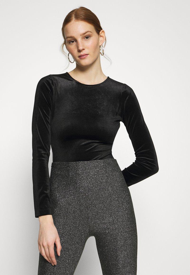 Gina Tricot - VELVET OPEN BACK - Long sleeved top - black