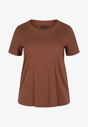 MED BRED RIB I HALSEN - Basic T-shirt - rocky road