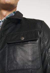 Selected Homme - SLHICONIC BLOUSON  - Kožená bunda - black - 6