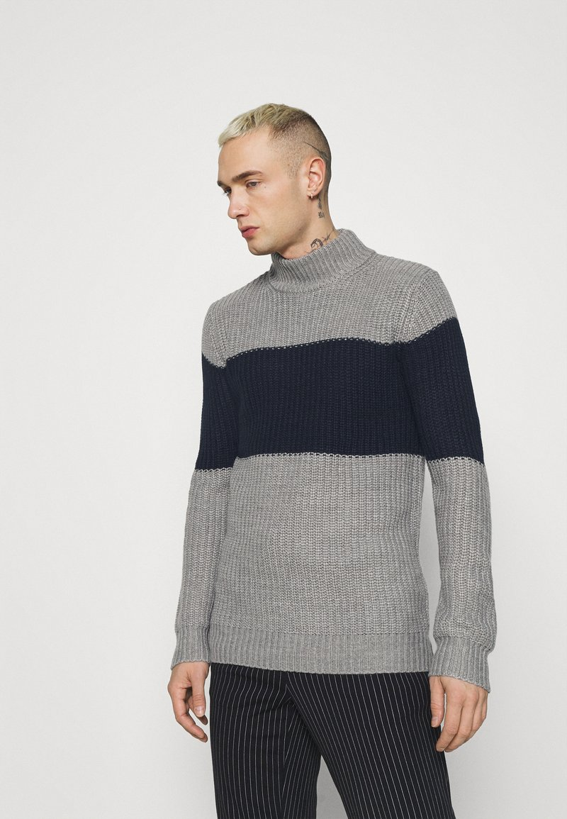 Brave Soul - REINOLD - Jumper - silver grey marl/ french navy