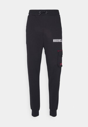 FLEX CARGO JOGGERS - Cargo trousers - black/red