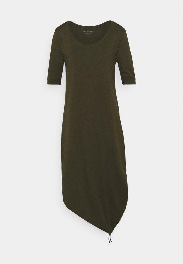 HALF SLEEVE DRAWSTRING DRESS - Jerseyjurk - olive
