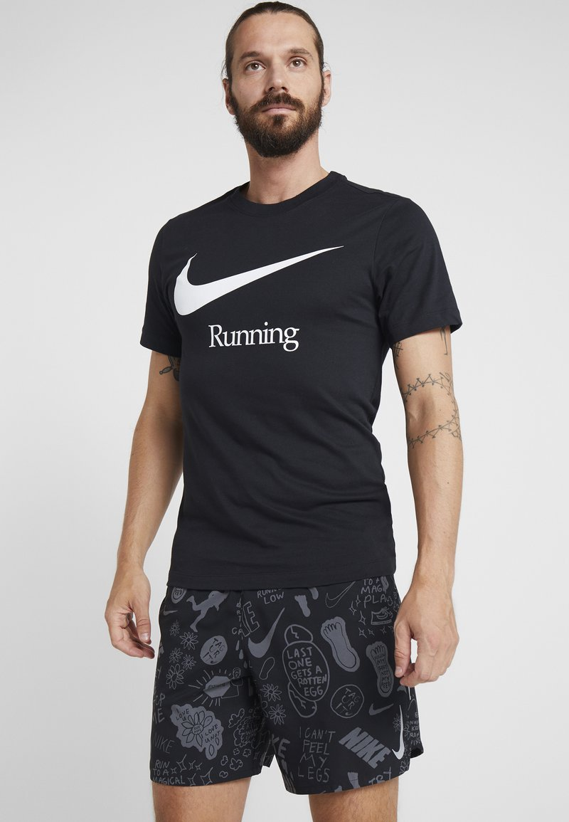 Nike Performance - DRY RUN  - Print T-shirt - black/white