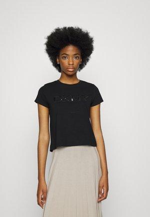 CROPPED SEQUIN PATCH - T-shirt imprimé - black