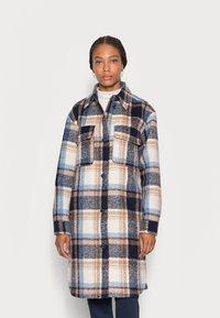 TOM TAILOR DENIM - LONG CHECK OVERSHIRT - Classic coat - cosy blue - 0