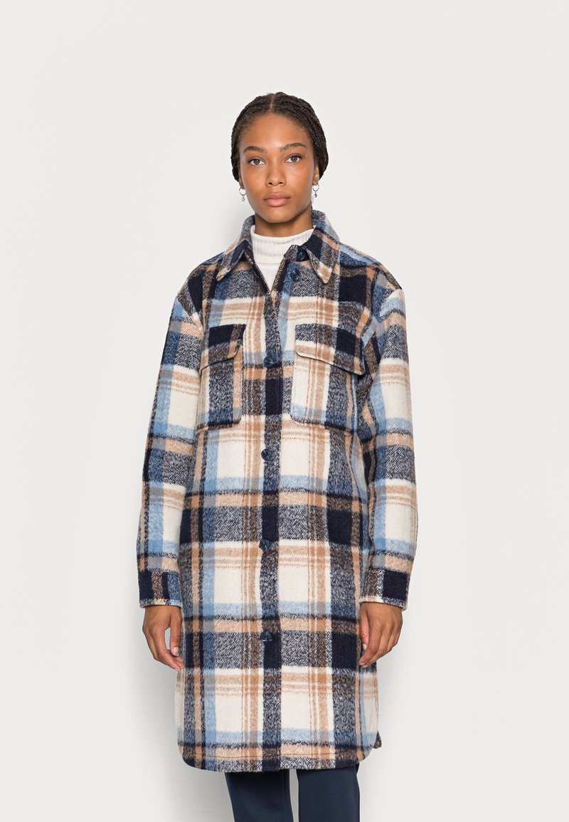 TOM TAILOR DENIM - LONG CHECK OVERSHIRT - Classic coat - cosy blue