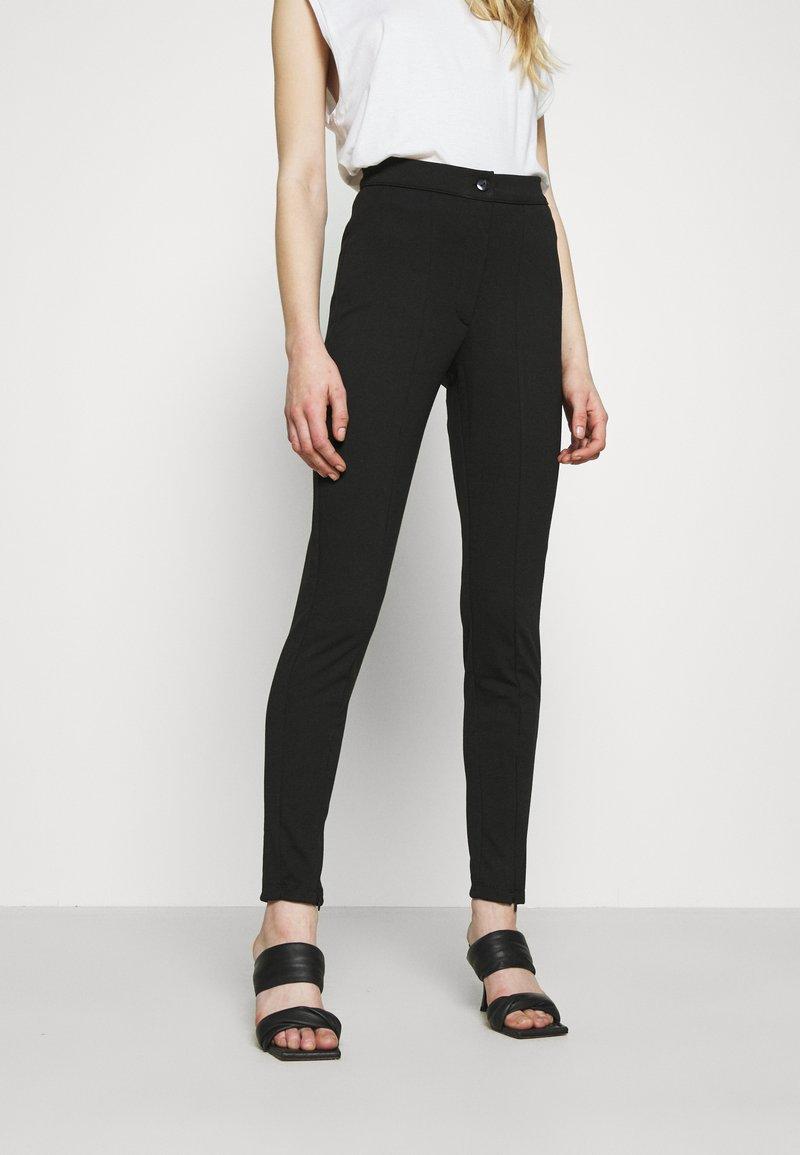 Even&Odd - TAPERED LEG SMART TROUSER - Trousers - black