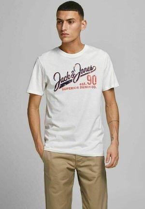 JJELOGO TEE O NECK - T-shirt med print - cloud dancer