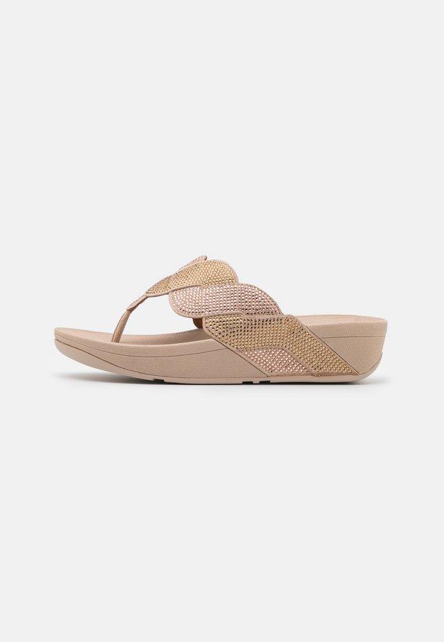 PAISLEY ROPE TOE THONGS - T-bar sandals - platino
