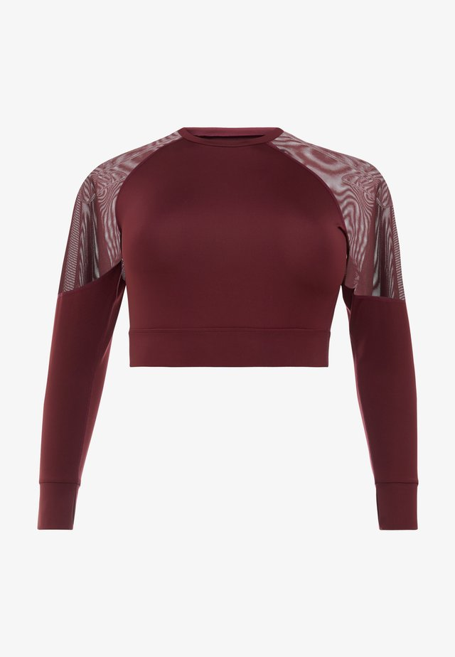 CURVE LONG SLEEVE INSERT CROP TOP - Funkční triko - burgundy