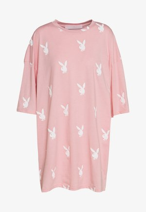 PLAYBOYOVERSIZED T-SHIRT DRESS - Jersey dress - pink/white