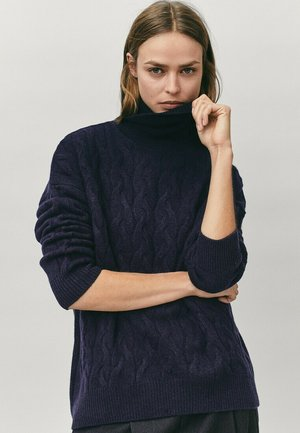 MIT ROLLKRAGEN  - Sweter - blue-black denim