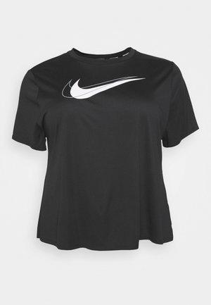 RUN PLUS - T-shirt print - black/silver